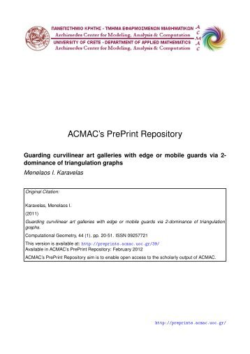 Download (647Kb) - ACMAC's PrePrint Repository