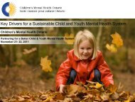 Key Drivers for a Sustainable Child and Youth Mental Health System