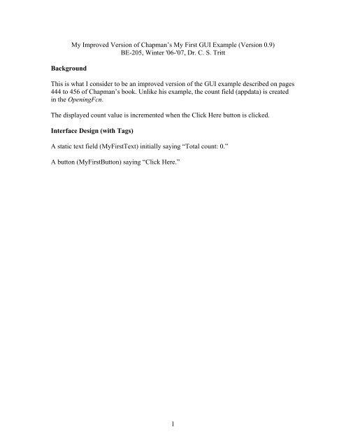 Notes Regarding Development of a Matlab GUI BMI Calculator