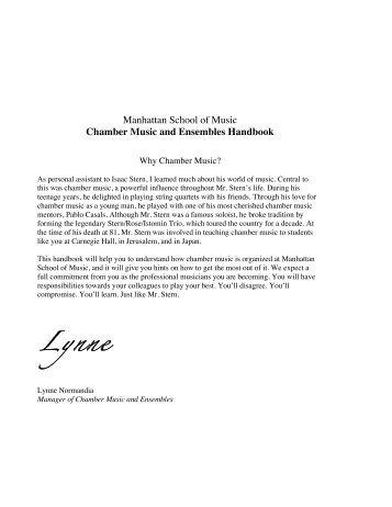 Chamber Music and Ensembles Handbook - Manhattan School of ...