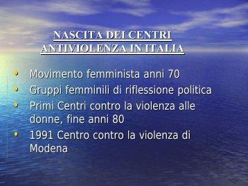 nascita dei centri antiviolenza in italia - Comune di Modena