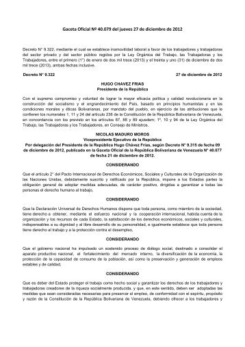 Decreto Nº 9322 Inamovilidad Laboral 2013 Dic 27, 2012 - cpzulia.org