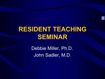 Teaching Residents - Graduate Medical Education