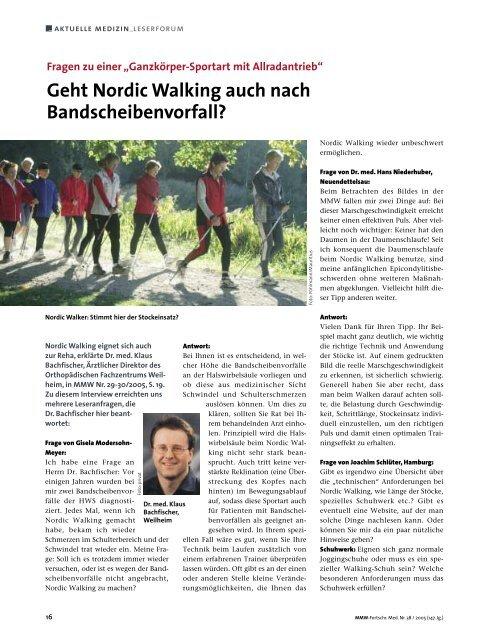 Geht Nordic Walking auch nach Bandscheibenvorfall?