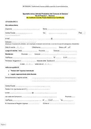 ANAGRAFICA Codice Fiscale - Comune di Genova