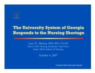The University System of Georgia Responds to the Nursing Shortage