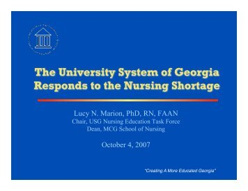 The University System of Georgia Responds to the Nursing Shortage
