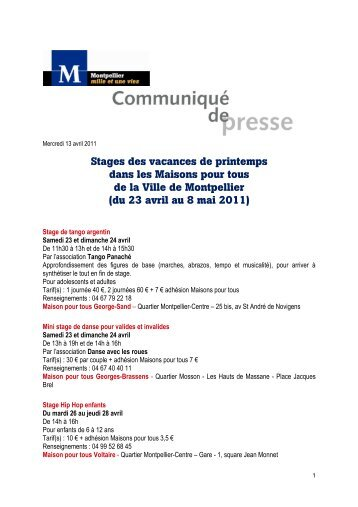 Stages des vacances de printemps dans les Maisons ... - Montpellier
