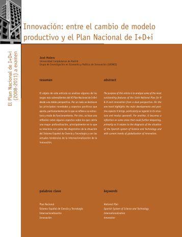 Innovación: entre el cambio de modeloproductivo y el ... - Madri+d
