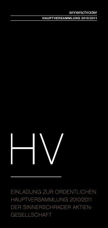 Einladung zur HV 2010/2011 - SinnerSchrader AG