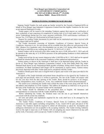 Tender Notice NIT36 - West Bengal Agro Industries Corporation Ltd ...