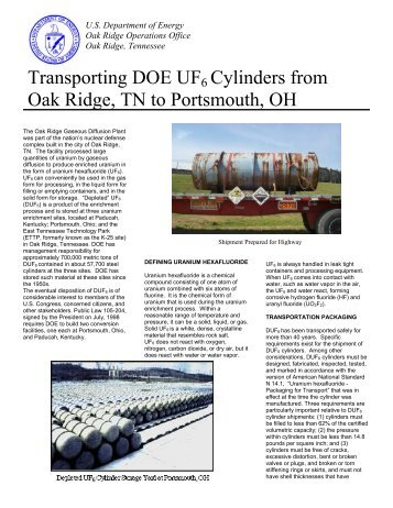 Fact Sheet - DOE Oak Ridge Operations - U.S. Department of Energy