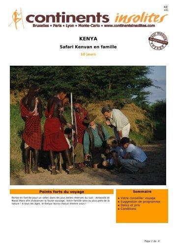 Safari Kenyan en famille - Continents Insolites