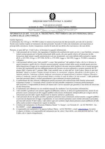 informativa sulla tutela della privacy per i genitori ... - Icclericetticairoli.it