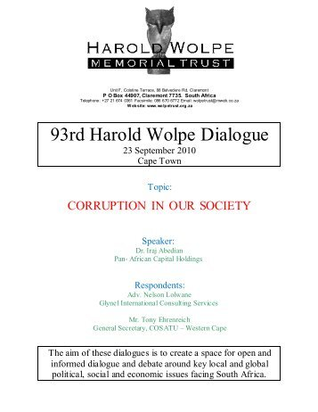 93rd Harold Wolpe Dialogue - The Harold Wolpe Memorial Trust