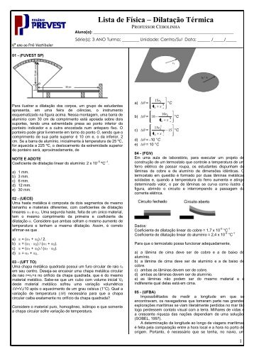 Lista de Física – Dilatação Térmica