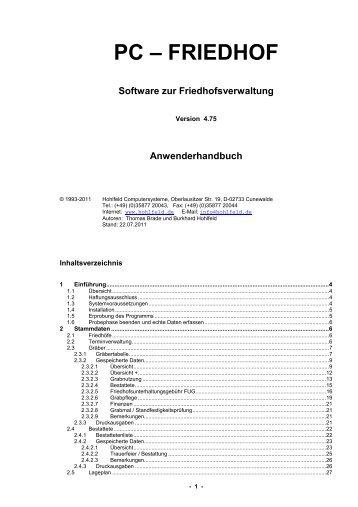 FRIEDHOF Software zur Friedhofsverwaltung - Hohlfeld ...