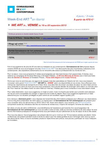 Bulletin d'inscription Venise septembre - Connaissance de l'Art ...