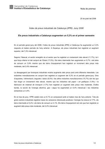 Idescat. Nota de premsa. Índex de preus industrials de Catalunya ...