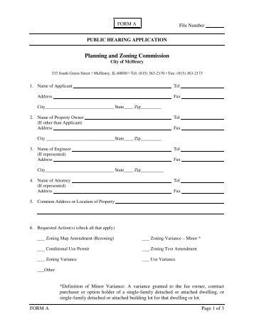 AGeneral Application For Planning And Zoning Commission