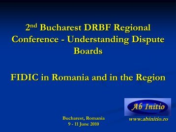 FIDIC in Romania and the Region - Dispute Resolution Board ...