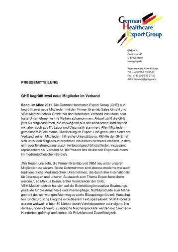 PRESSEMITTEILUNG GHE begrüßt zwei neue Mitglieder ... - Gheg.de