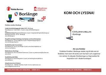 Program för föräldrar emellan våren 2013 - Borlange.pingst.se