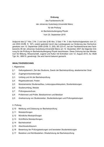 Prüfungsordnung Bachelor of Science Physik - im Fachbereich ...