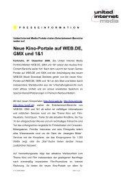 Neue Kino-Portale auf WEB.DE, GMX und 1&1