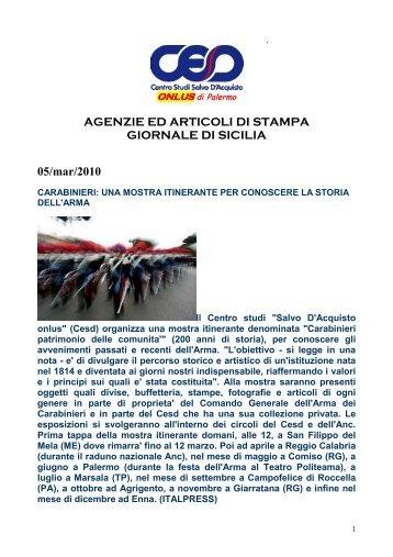 AGENZIE ED ARTICOLI DI STAMPA GIORNALE ... - Cesd-onlus.com