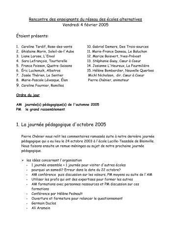 Réunion du 4 février 2005 - Réseau des écoles publiques ...