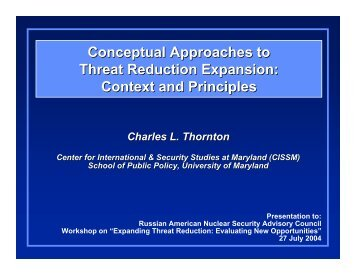 Conceptual Approaches to Threat Reduction Expansion - Center for ...
