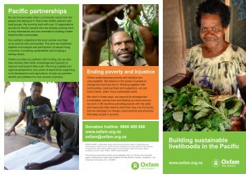 Building sustainable livelihoods in the Pacific - Oxfam New Zealand