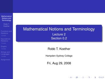 Mathematical Notions and Terminology - Hampden-Sydney College