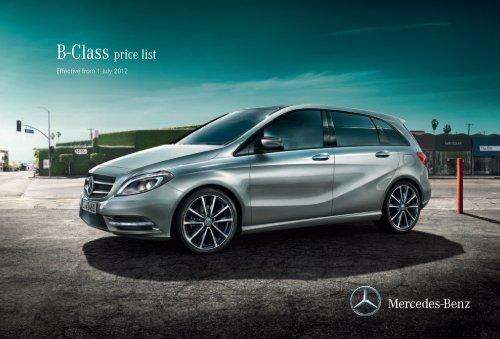 B Class Price List Mercedes Benz Uk
