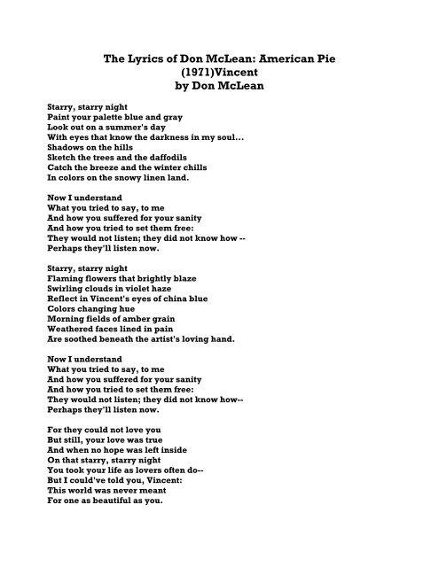 Songtext vincent
