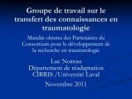 Groupe de travail sur le transfert des connaissances en ... - Repar