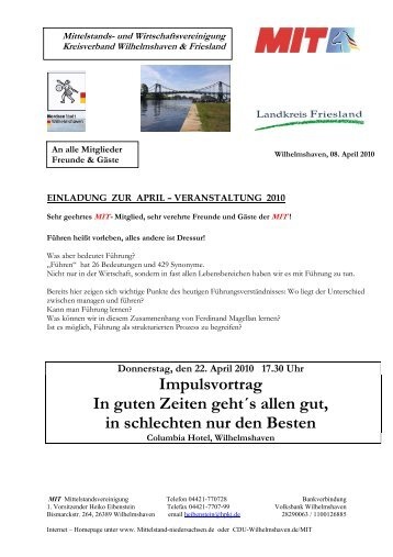 und Wirtschaftsvereinigung Kreisverband Wilhelmshaven  & Friesland