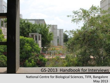 Brochure - National Centre for Biological Sciences