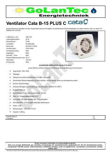 Ventilator Cata B-15 PLUS C - GoLanTec