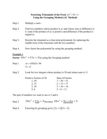 4.3 Factoring Trinomials of the Form x2 + bx + c