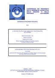 Le Regioni tra politiche pubbliche e trasformazioni istituzionali