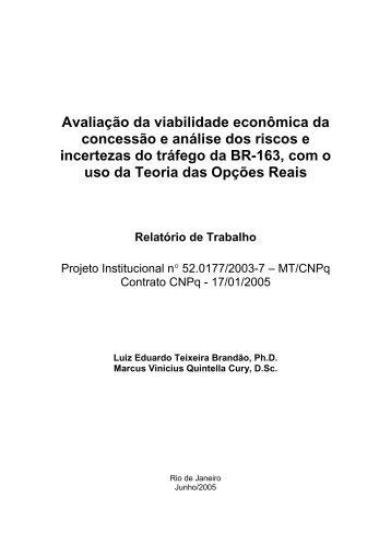 Avaliação da viabilidade econômica da concessão e análise dos ...