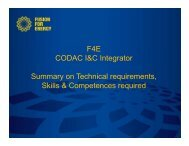 F4E CODAC I&C Integrator Summary on Technical requirements ...