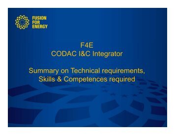 F4E CODAC I&C Integrator Summary on Technical requirements ...