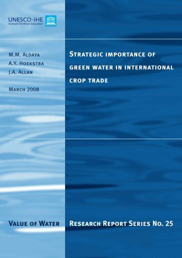 Strategic importance of green water in international crop trade Value ...
