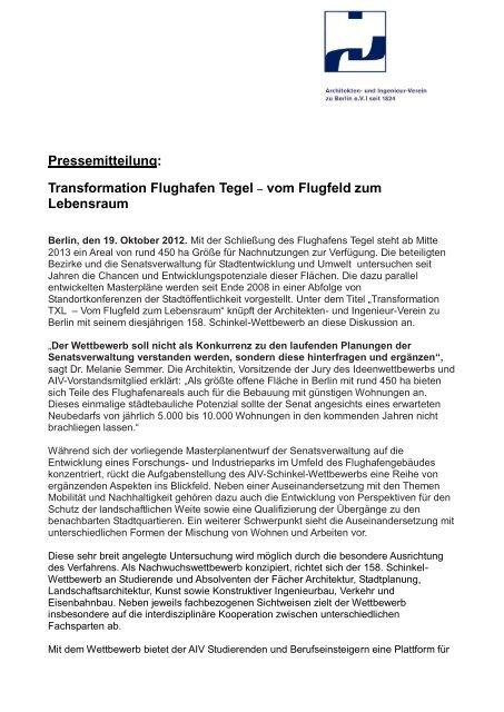 Pressemitteilung - Architekten- und Ingenieur-Verein zu Berlin eV
