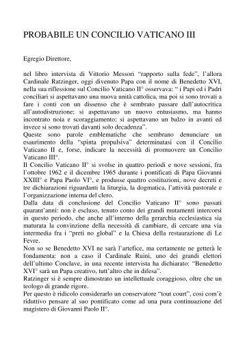 PROBABILE UN CONCILIO VATICANO III - lostatoperfetto.it