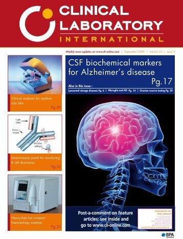 CSF biochemical markers for Alzheimer's disease Pg.17