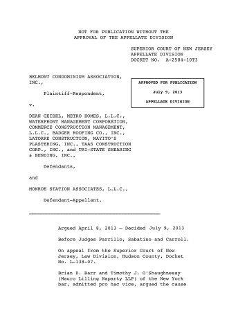 Belmont Condominium Ass'n, Inc. v. Geibel - Appellate Law NJ Blog